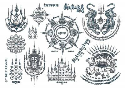 1x A4 Sheet Buddhist Style Temporary Tattoos