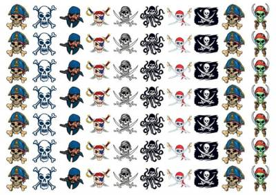 1xA4 Sheet 70 Pirate Temporary Tattoos