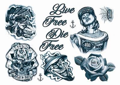 1xA4 Sheet GangstaBoy 5 Mel Tattoos