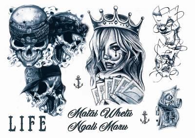 1xA4 Sheet GangstaBoy 6 Mel Tattoos