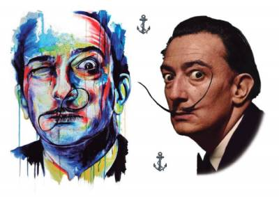 1xA4 Sheet Dali Inspired Temporary Tattoos Mel
