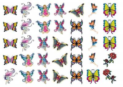 1xA4 Sheet Fairy Girls Special Deal Temporary Tattoos