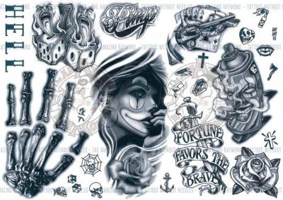 1xA4 Sheet Gangsta Rapper Knuckle 1 Temporary Tattoos