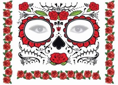 1xA4 Sheet Halloween Mask Temporary Tattoos
