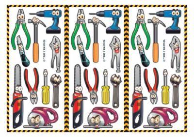 1xA4 Sheet Happy Tools Tatts 2 Larger Temporary Tattoos