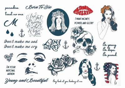1xA4 Sheet In the Style of Lana Del Rey Temporary Tattoos