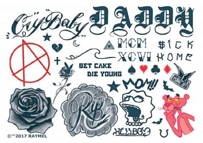 1xA4 Sheet Inspired by Lil Peep Set 1 Rapper Temporary Tattoos