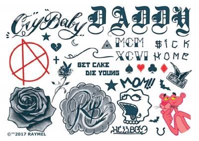 1xA4 Sheet Inspired by Lil Peep Rapper Temporary Tattoos