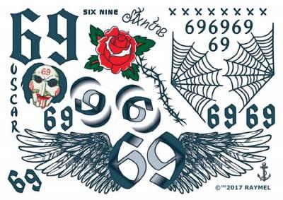 1xA4 Sheet Inspired by Tekashi 69 Rapper Temporary Tattoos