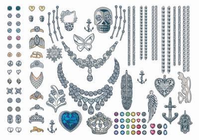 1xA4 Sheet Jewellery Look Temporary Tattoos