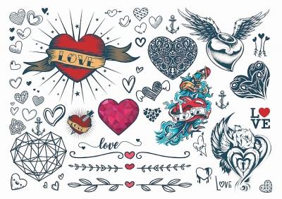1xA4 Sheet Love Hearts(Mel) Temporary Tattoos