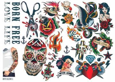 1xA4 Sheet Mens Tattoos 1 BS Mel
