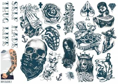 1xA4 Sheet Mens Tattoos 2 BS Mel