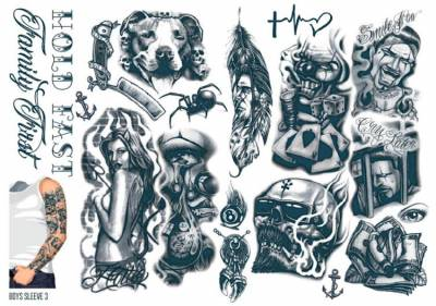 1xA4 Sheet Mens Tattoos 3 BS Mel