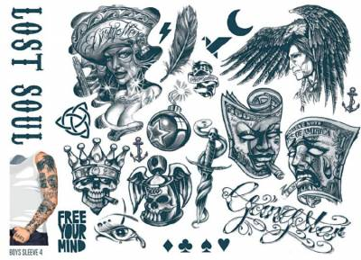 1xA4 Sheet Mens Tattoos 4 BS Mel