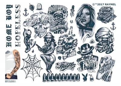1xA4 Sheet Mens Tattoos 6 BS Mel