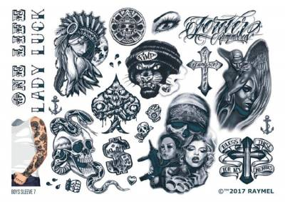 1xA4 Sheet Mens Tattoos 7 BS Mel
