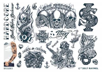 1xA4 Sheet Mens Tattoos 8 BS Mel