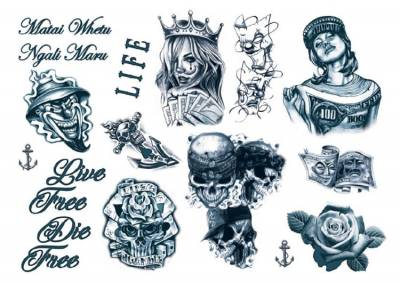 1xA4 Sheet GangstaBoy 8 Smaller Combo of Sheet 5 and 6 Temporary Tattoos Mel