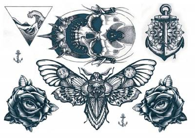 1xA4 Sheet Neck Tattoos 5 Mel Temporary Tattoos
