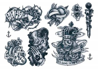 1xA4 Sheets New 2018 Gangsta 2 Temporary Tattoos