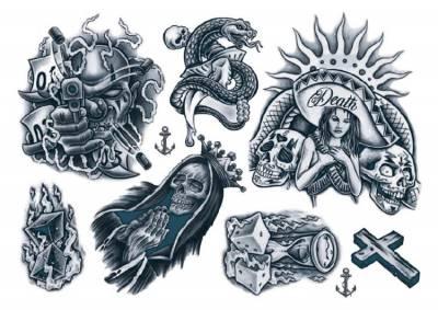 1xA4 Sheet New 2018 Gangsta 3 Mel Temporary Tattoos