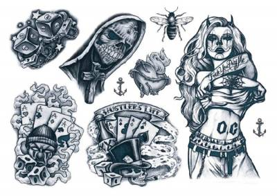 1xA4 Sheet New 2018 Gangsta 4 Mel Temporary Tattoos