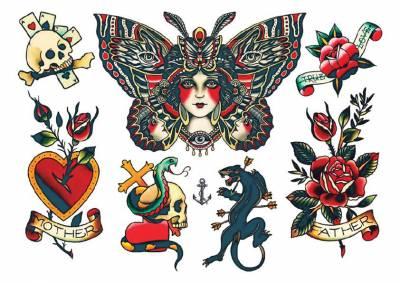 1xA4 Sheet New Neck 6 Mel Temporary Tattoos