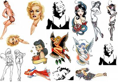 1xA4 Sheet Pin Up 1 Tattoos AnCh