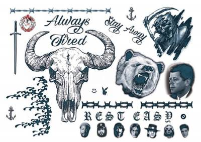 1xA4 Sheet Post Malone  Rapper Style Temporary Tattoos