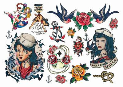 1xA4 Sheet Rockabilly Hello Sailor 2 Temporary Tattoos