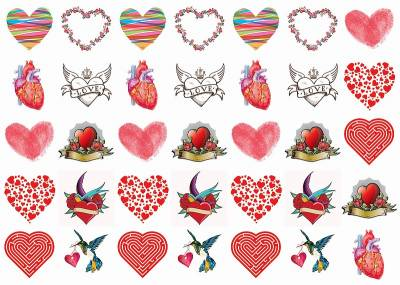 1xA4 Sheet Hearts Tommy 2 Tattoos