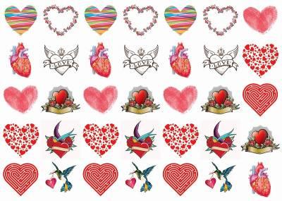 1xA4 Sheet Hearts Tommy 2 Tattoos