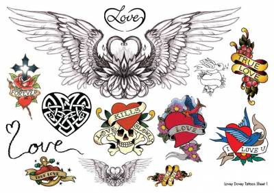 1xA4 Sheet Heart Tattoos CA 1