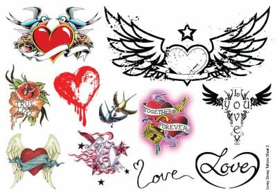 1xA4 Sheet Heart Tattoos CA 2