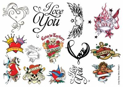 1xA4 Sheet Heart Tattoos CA 3