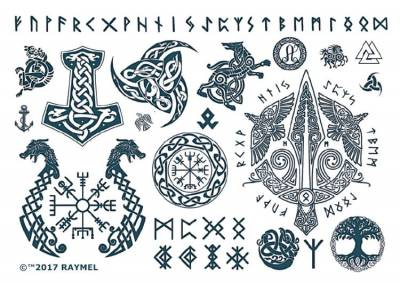 1xA4 Sheet Viking 2 Temporary Tattoos