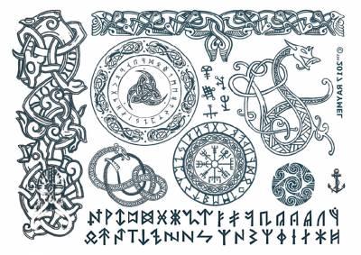 1xA4 Sheet Viking 4 Temporary Tattoos