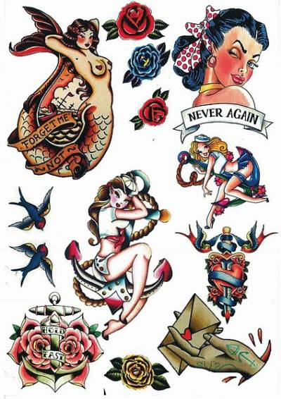 1xA4 Sheet Vintage Tattoos CW 1