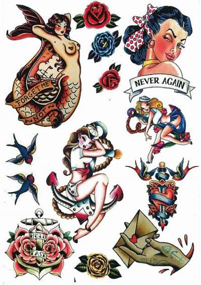 1xA4 Sheet Vintage Tattoos CW 1