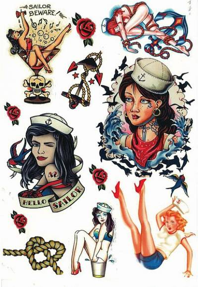 1xA4 Sheet Vintage Tattoos CW 2