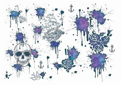 1xA4 Sheet Water Colour Paint Splatter Temporary Tattoos