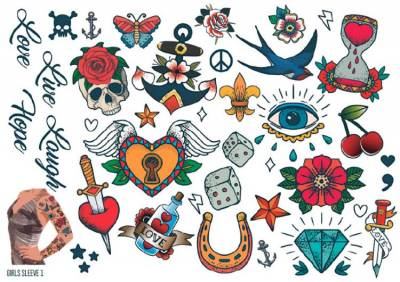 1xA4 Sheet Womens Tattoos 1 GS Mel