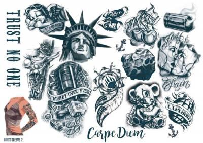 1xA4 Sheet Womens Tattoos 2 GS Mel