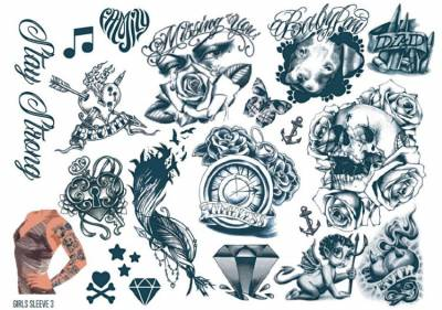 1xA4 Sheet Womens Tattoos 3 GS Mel