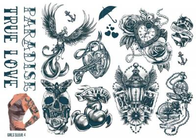 1xA4 Sheet Womens Tattoos 4 GS Mel