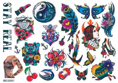 1xA4 Sheet Womens Tattoos 5 GS Mel