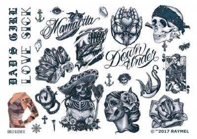 1xA4 Sheet Womens Tattoos 6 GS Mel