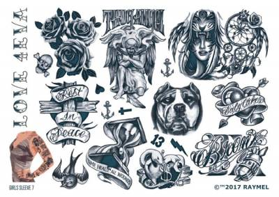 1xA4 Sheet Womens Tattoos 7 GS Mel