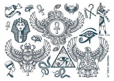 1xA4 Sheet of Egyptian Style Temporary Tattoos